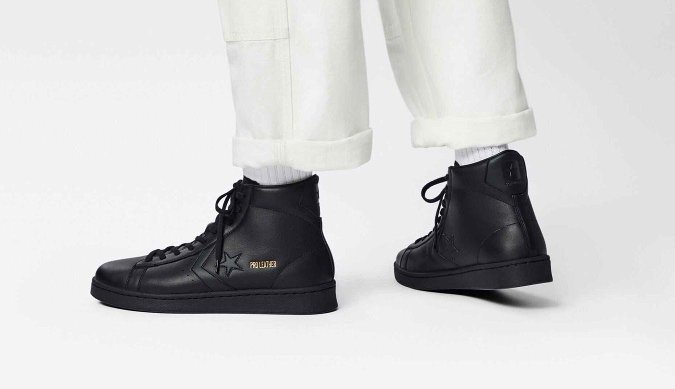 converse leather noir